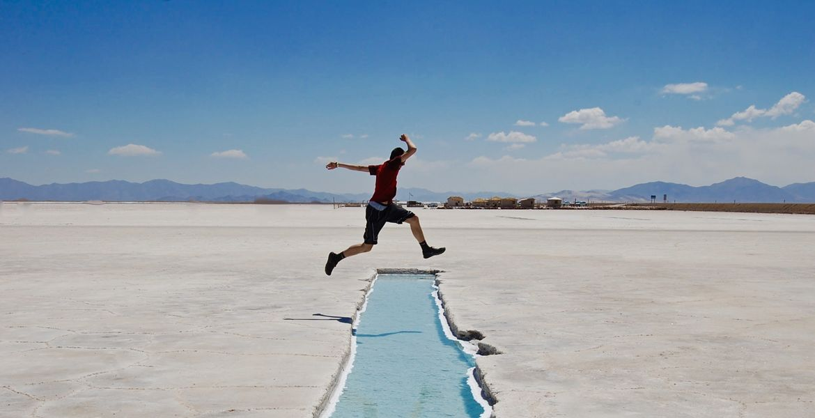 student studying abroad in south america visiting salt flats