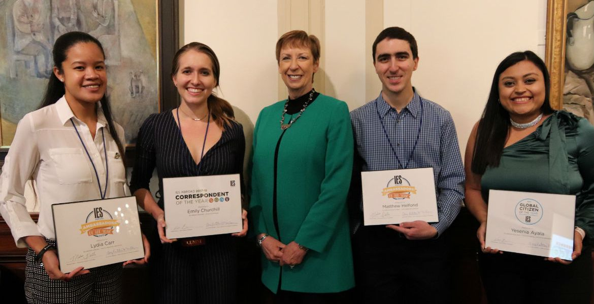 Mary Dwyer, CEO and President, with student award winners at the 2019 annual conference