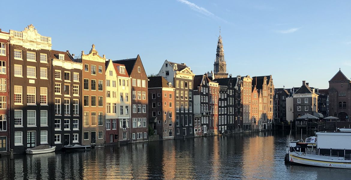 Canal view of buildings in Amsterdam