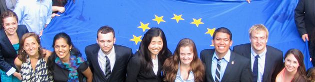 Students with EU flag