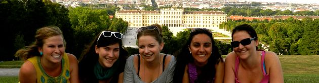 Students on hill over Vienna palace