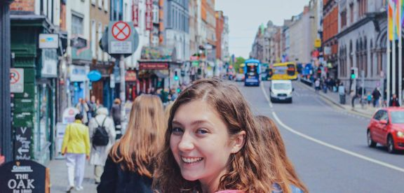 Students walking through the streets of Dublin