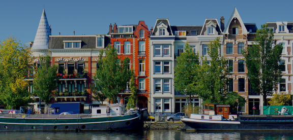View of buildings from Amsterdam canal