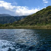 View from the boat at Laguna Cuicocha.