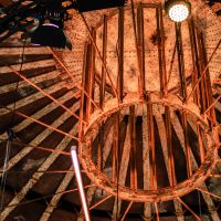 The wooden ceiling of the Gashouder Fair building.