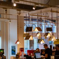Book Lights Above the Cash Registers at Scheltema Booksellers