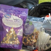 Getting ready for the flight with my sweet and salty trail mix.