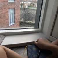 The view outside my apartment window, and my travel journal