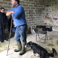 A shepherd, Mick, introduces us to his dog, Maggie