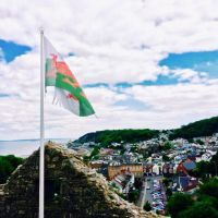 Welsh flag and town view