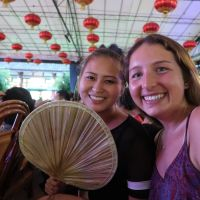 Getting ready for the Chengdu Opera to start! Fanning ourselves to stay cool in the heat