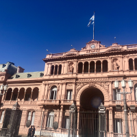 The striking Casa Rosada, or Pink House, which is the Argentine president's office.
