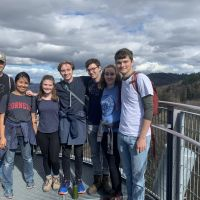 Students climbed Schlossberg Tower