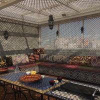 a lattice porch on a roof, with couches