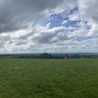 A panoramic image of the base of the Hill of Tara