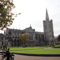 Green lawn in front of cathedral