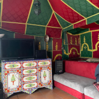 interior of a student lounge tent on patio
